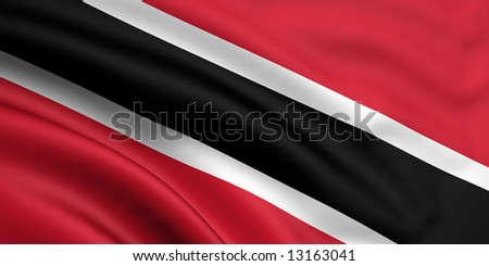 3d rendered and waving flag of trinidad and tobago - stock photo