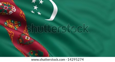 3d rendered and waving flag of turkmenistan - stock photo