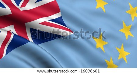 3d rendered and waving flag of tuvalu - stock photo