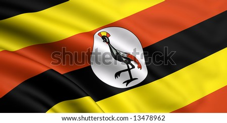 3d rendered and waving flag of uganda - stock photo