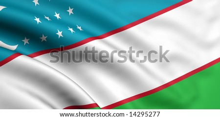 3d rendered and waving flag of uzbekistan - stock photo