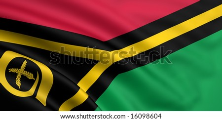 3d rendered and waving flag of vanuatu - stock photo