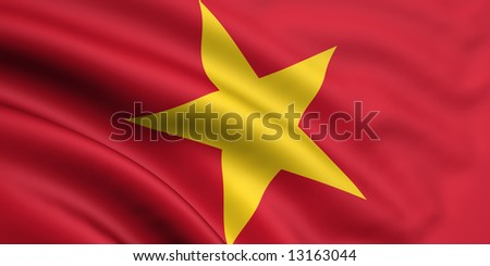 3d rendered and waving flag of vietnam - stock photo