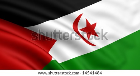 3d rendered and waving flag of western sahara - stock photo