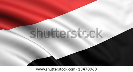 3d rendered and waving flag of yemen - stock photo