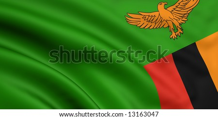3d rendered and waving flag of zambia - stock photo