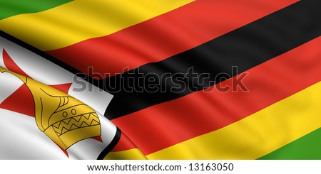 3d rendered and waving flag of zimbabwe - stock photo