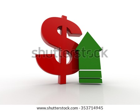 3D rendered arrow diagram moving up over dollar sign