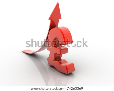 3D rendered arrow diagram moving up over pound