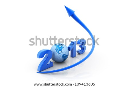 3d rendered  arrow diagram moving  up over 2013 sign - stock photo
