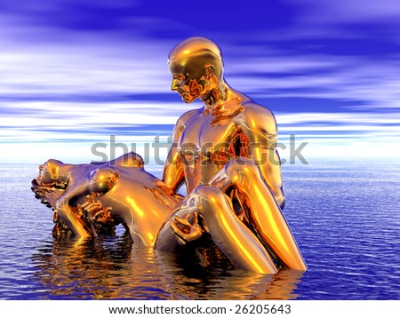 3D rendered background of golden man and woman in the sea - stock photo