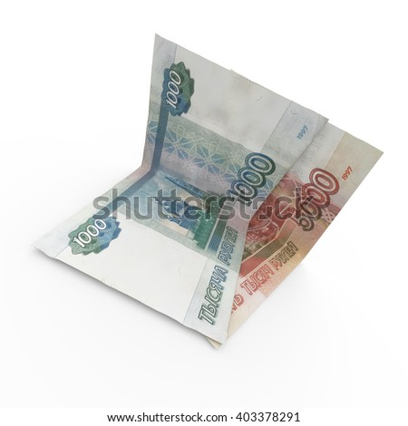 3D rendered 2 banknotes of russian money on white background.