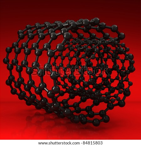 3D rendered black nanotubes on red background - stock photo