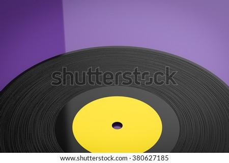 3d rendered black vinyl record on purple background - stock photo