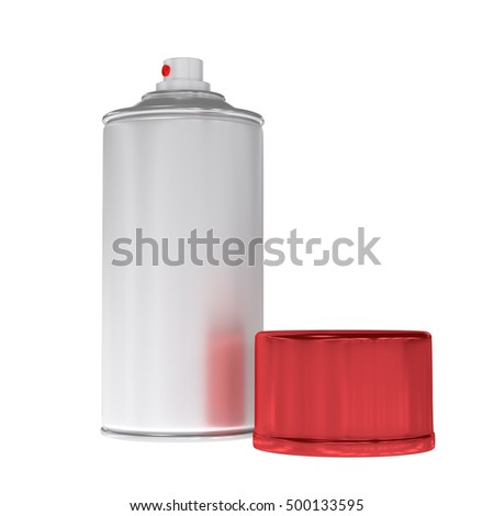 3D rendered blank aluminium spray can template with red cap for paint, hairspray, deodorant.