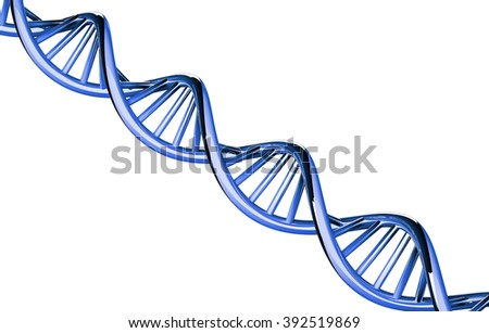 3d rendered, blue DNA with copy space, isolated on white background