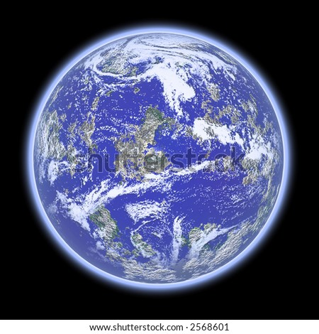3D rendered blue planet with atmosphere in space (over black background) - stock photo