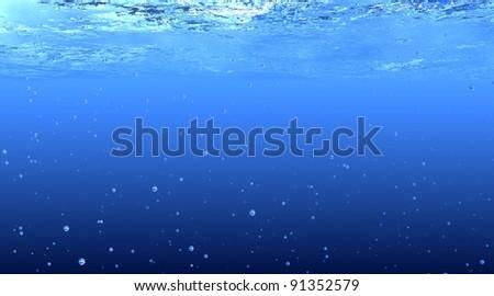 3D rendered Blue Underwater background - stock photo