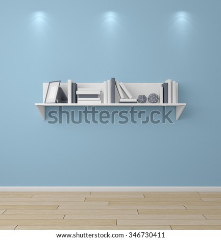 3d rendered bookshelf with books and decorations. - stock photo