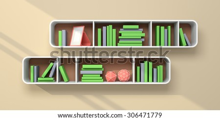 3d rendered bookshelves with books and decorations. - stock photo