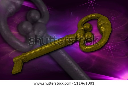 3d rendered brass key isolated on color background - stock photo