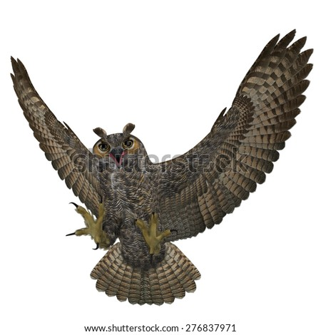 """3D Rendered Bubo Virginianus """"Great Horned Owl"""" - stock photo"""
