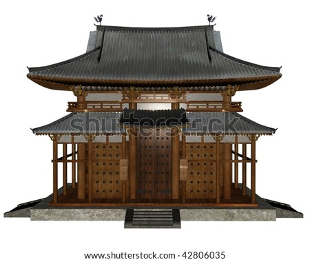 3D rendered buddhist temple on white background isolated - stock photo