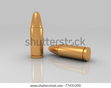 3d rendered Bullets isolated on white background - stock photo