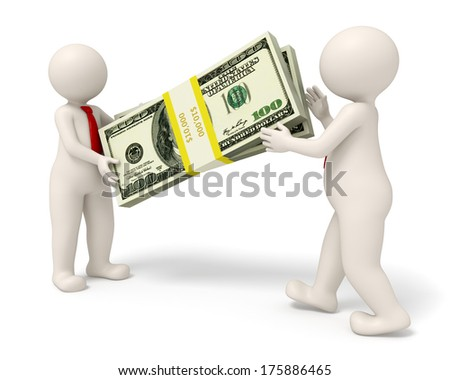 3d rendered business man handing over a big pack of money to his partner - stock photo