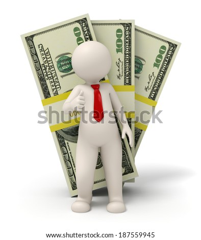 3d rendered business man standing in front of one hundred dollar packs - stock photo