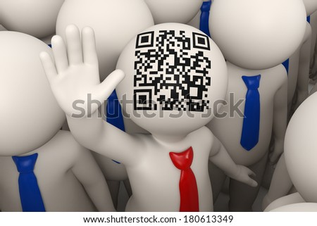 3d rendered business people and one of them with a red tie and matrix barcode aka QR code on his head, waving - stock photo