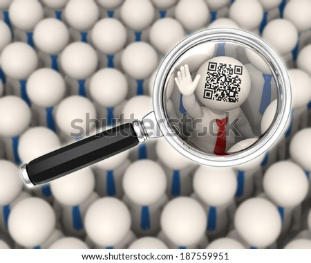 3d rendered business people focused through a magnifier glass showing a matrix barcode aka QR code - stock photo