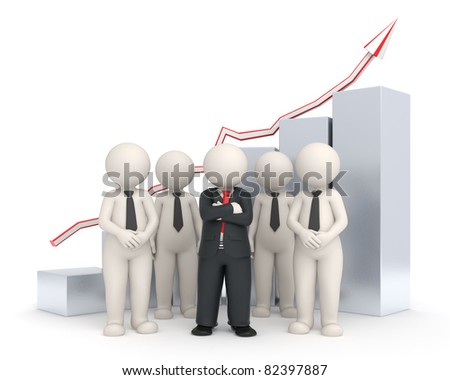 3d rendered business people with a leader standing in front of a rising gray financial graph - Semi isolated with soft shadows - stock photo