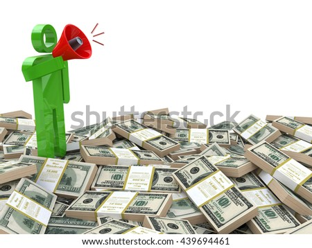3d rendered businessman speaking through a megaphone around money - business motivation concept in the design of the information related to the business. 3d illustration - stock photo