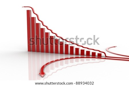 3d rendered bussiness graph isolated on white