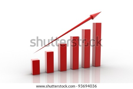 3d rendered bussiness graph isolated on white - stock photo