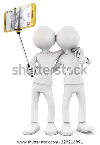 3d rendered by two friend becoming a selfie with smartphone - stock photo