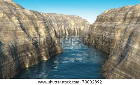 3d rendered canyon - stock photo