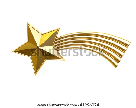 3d rendered christmas star on white background - stock photo