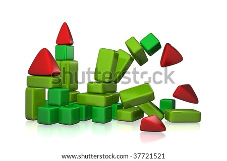 3d rendered collapsing toy building