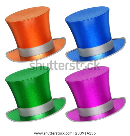 3D rendered collection of colorful decoration top hats with shiny metallic flakes style surface - isolated on white background