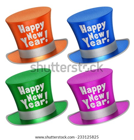 3D rendered collection of colorful Happy New Year top hats with shiny metallic flakes style surface - isolated on white background - stock photo