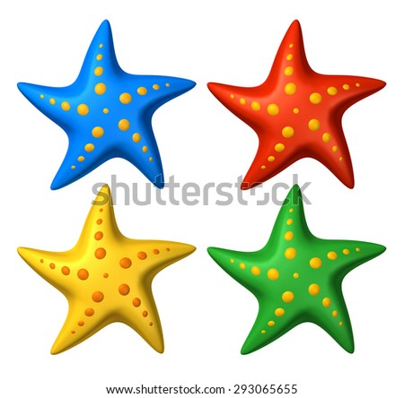 3D rendered collection of colorful stylized starfish toys - isolated on white - stock photo