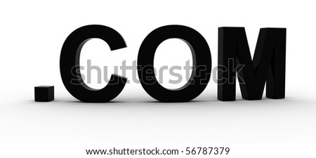 3D Rendered .COM word - stock photo