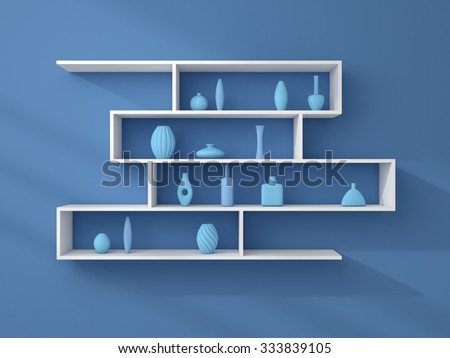 3d rendered composition of modern shelves on a wall.