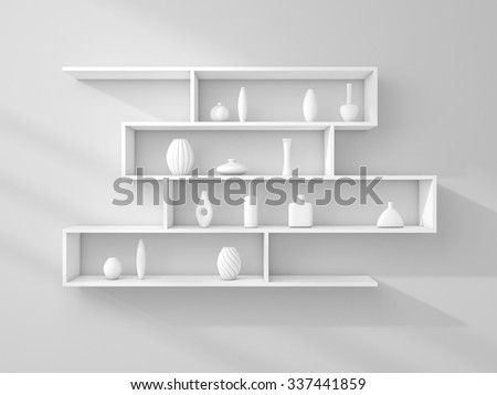 3d rendered composition of modern shelves on a wall. - stock photo