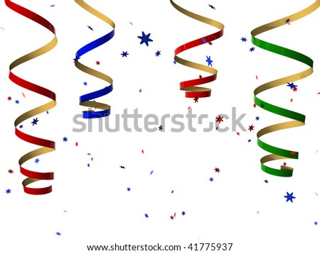 3d rendered confetti and streamers - stock photo