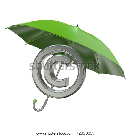 3d rendered copyright protection concept with green umbrella