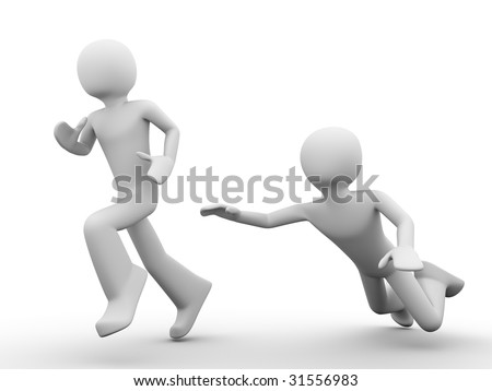 3d rendered copyspaced image with a man jumping trying to catch the running out man - stock photo