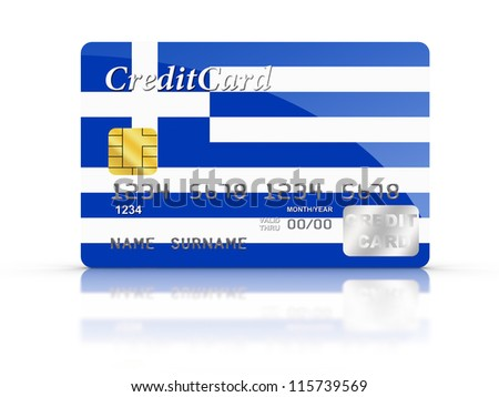 3D rendered Credit Card covered with  Greek flag